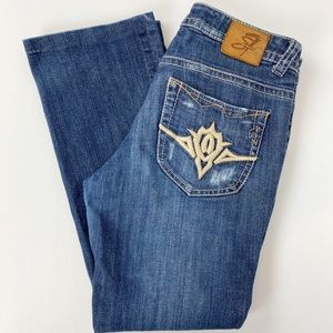 SEVEN 7 Bootcut Jeans Distressed Embroidered 28